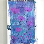 Tableau Abstrait Fleurs, Art Contemporain, Toile Abstraite Fleur Rose , 3D
