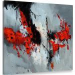Tableaux abstraits Hexoa rouges à motif fleurs modernes