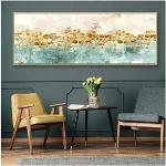 Tableau Decoration Murale Abstrait Vert doré Affiche Toile Peinture scandinave Mur Art Photos Moderne Minimaliste Salon décor à la Maison 23.6x23.6in (60x60cm) x21pcs sans Cadre