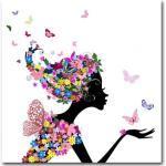 Tableau enfant Fée des Fleurs 80X80 cm CAMELIA