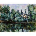 Tableau, Impression Sur Toile - Les Rives De La Marne (Villa Sur La Rive D'un Fleuve) Paul Cézanne Cm. 80x100