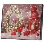 """Tableau lumineux à LED """"Couronne de Noël et lanterne"""" 28 x 23 cm Infactory"""