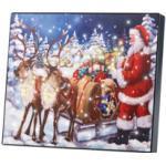 """Tableau lumineux """"Père Noël et son traîneau"""" 28 x 23 cm Infactory"""