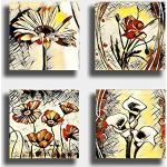 Tableau moderne fleur ethnique 4 pièces 40 x 40 cm Impression sur toile Tableau abstrait, art abstrait, décoration pour salon, chambre à coucher, cuisine, bureau, bar, restaurant