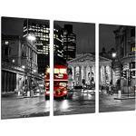 Tableau Moderne Photographique, Impression sur bois, Nuit de la ville de Londres, bus rouge, 97 x 62 cm, ref. 26772