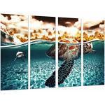 Tableau Moderne Photographique, Impression sur bois, Tortue animale et requin dans la mer, océan, 131 x 62 cm, ref. 26873