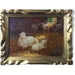 Tableau Moutons dans la bergerie avec agneau signé D. Angelino