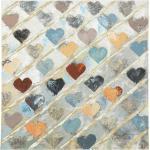 Tableau mural coeurs de peinture à l'huile multicolores à la main avec cadre en pot de brochettes 80x80cm Boltze 1015736