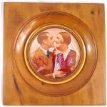 Tableau Mural Fait Main, Cadre Bois Et Laiton Sous Verre, Couple D'amoureux Des Années 30, Idée Cadeau De Fête Mères