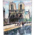 Tableau, Peinture de Paul Petit, vue de Notre-Dame de Paris