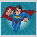 Tableaux pop art bleus en pin Superman