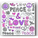 Tableaux violets en pin Peace