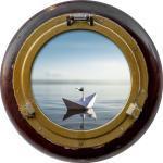 Tableau rond sur verre synthétique hublot bateau D65cm