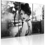 Tableau sur toile en 3 panneaux décoration murale image imprimée cadre en bois à suspendre Femme élegante dans un style rétro 60x40 cm 11_0008433