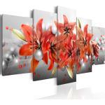 Tableau sur toile en 5 panneaux décoration murale image imprimée cadre en bois à suspendre Bataille fleurie 100x50 cm 11_0005394