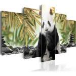 Tableau sur toile en 5 panneaux décoration murale image imprimée cadre en bois à suspendre Ours panda mignon 100x50 cm 11_0002682