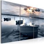 Tableau toile de décoration motif Petit bateau au bord de la mer 120x80cm DEC110549
