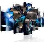 Tableau toile de décoration murale motif carte du monde fond bleu 100x50cm DEC110011/2