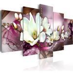 Tableau toile de décoration murale motif orchidée fond rose 100x50cm DEC110092/2