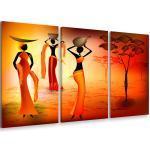 Tableau Triptyque Deco Femmes Dans La Savane - 90x60 Cm