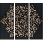 Tableau triptyque en bois MANDALA - 30x90x3.8 cm - noir et naturel