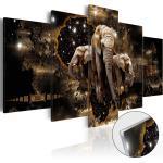 Tableaux en verre acrylique décoration murale en 5 panneaux motif Éléphants bruns 100x50 cm TVA110152