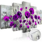 Tableaux en verre acrylique décoration murale motif Coquelicots violets en 5 panneaux 100x50 cm TVA110078
