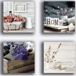 Tableaux modernes Shabby Chic Chambre à coucher Vintage Fleurs 4 pièces 40 x 40 cm XXL Impression toile tableau moderne ameublement salon chambre à coucher cuisine bureau esthéticienne