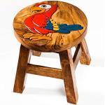 Tabouret / chaise robuste pour enfant - En bois massif - Avec motif perroquet - Hauteur d'assise: 25 cm
