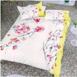 Taie d'oreiller imprimée en satin de coton, Oriental Flower Multicolore Designers Guild