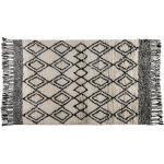 Tapis à motifs noir et blanc à franges en laine 200 x 300 cm