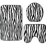 Tapis De Bain En Flanelle Douce Set De Luxe 3 Pièces Lavables Tapis De Toilette Imprimé Animal Zebra Stripe
