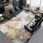 Tapis de Salon Tapis Design Moderne Abstrait Noir Gris doré Encre -140 200CM Tapis de Yoga Salon Chambre Tapis