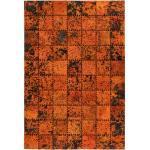Tapis Patchwork en Cuir Fait Main Voila Orange - Paris Prix
