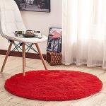 Tapis rouge framboise à motif tigres diamètre 80 cm look asiatique pour bébé