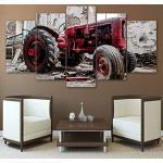 TBDZPS 5 Panneaux HD Imprimé rne Toile Salon Mur Art Vieux Cassé Peinture De Tracteur Modulaire Affiche Photos Décor À La Maison