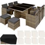 Tectake - Salon de jardin NEW YORK 10 places avec 2 sets de housses + housse de protection, variante 2 - mobilier de jardin, meuble de jardin, ensemble table et chaises de jardin - marron naturel