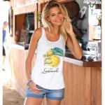 Tee-shirt à bretelles imprimé citron fronces femme - Blanc