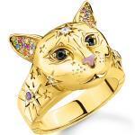 Bagues d'humeur Thomas Sabo multicolores à motif chats 18 carats pour femme