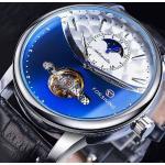 Thsinde - Montres pour hommes automatiques à la mode Tourbillon et montre-bracelet étanche à la phase de lune, montre à bracelet en cuir à remontage