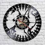 TIANZly Japonais Spitz Silhouette Horloge Murale Chien Chiot Animal Disque Vinyle Mur Art Décor Horloge 3D Mur Montre À La Main Artisanat Cadeau