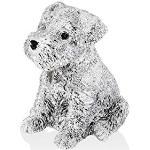 Tirelire chien 11 x 12 cm personnalisée en argent bilaminé
