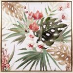 Toile décor tropical multicolore 62x62
