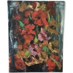 Toile huile ancienne fleurs