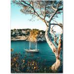 Toile Imprimée De Paysage Scandinave, Peinture Murale, Art De Forêt, Ciel, Lac, Bateau, Montagne De Neige, Affiche De Décoration Moderne - 21sh0607a34805