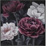 Toile peinte Fleur encadrée 58x58 cm