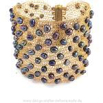 Tricotés Cuff Bracelet Fait De Fil Cuivre Plaqué Or Avec Perles Keshi