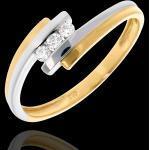 Trilogie Nid Précieux - Double Jonc - or blanc et or jaune 18 carats