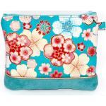 Trousse Maquillage /Porte Monnaie/ Tissu Japonais Chirimen Turquoise, Rose - Après La Plage ©