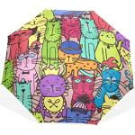 Trushop Parapluie Automatique Doodle Cat Pattern Windproof Travel Umbrella Compact Folding Umbrella